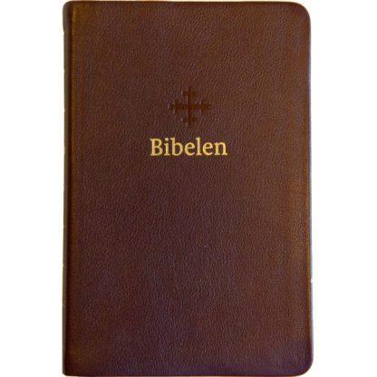 Bibel 2011 - mellomstor - mørk brunt skinn - register