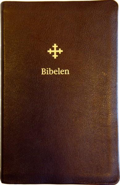 Bibel 2011 - stor - mørk brunt skinn med register